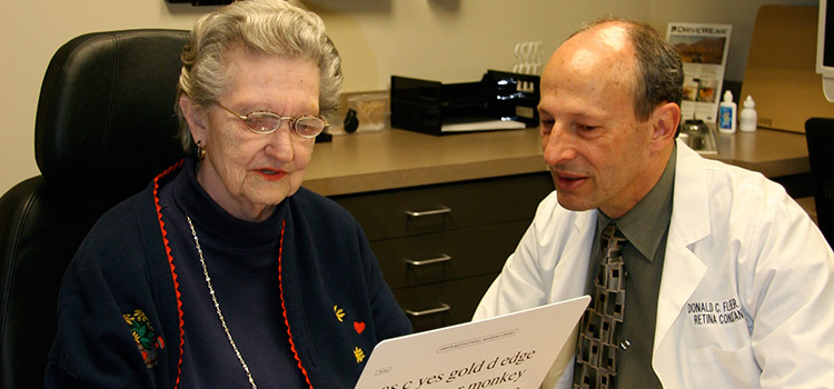 Doctor and Woman with vision chart